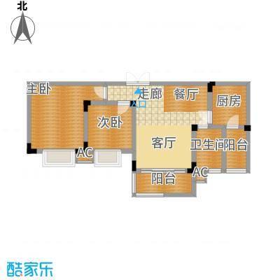 金香林67.43㎡3411号楼标层2面积6743m户型