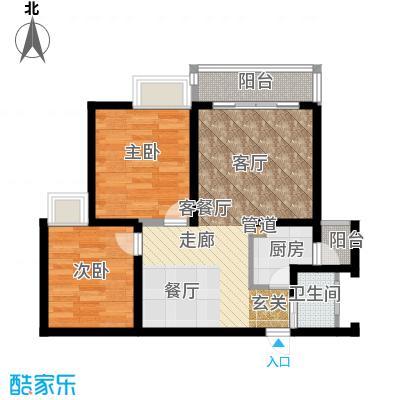 华彩俊豪63.90㎡2X2I面积6390m户型