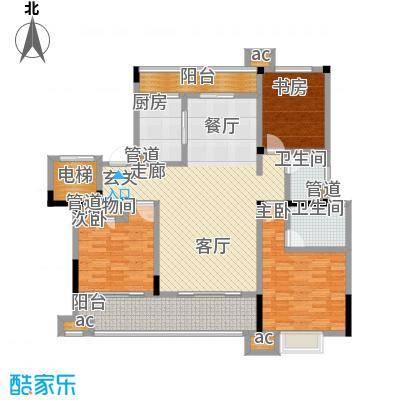 中海国际社区136.00㎡花园洋房标准层A4户型
