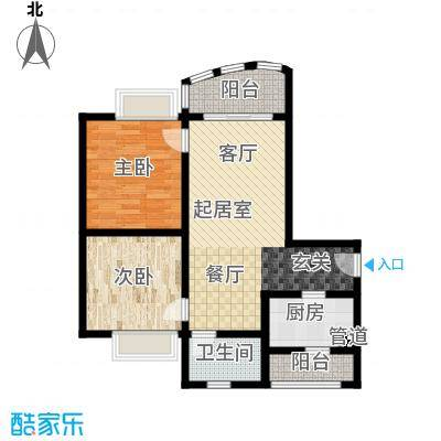 昌福盛景郦城74.41㎡一号楼F面积7441m户型