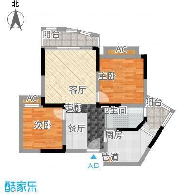 心巢御园63.99㎡1#2#楼D型2面积6399m户型