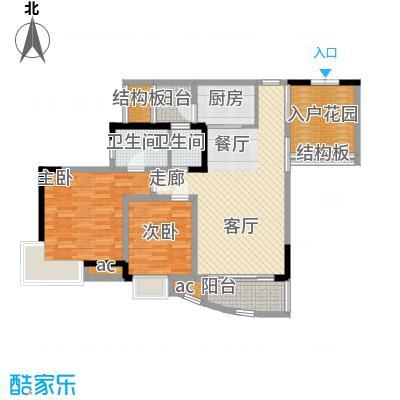晋愉绿岛74.58㎡A-01[8栋]2面积7458m户型
