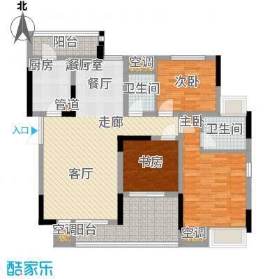 强辉金色池塘97.38㎡三期7号楼2面积9738m户型