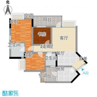 强辉金色池塘91.48㎡18号楼【SU面积9148m户型