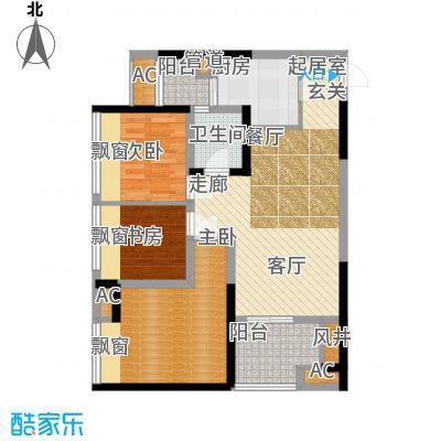 协信城69.51㎡二期2号楼标准层C面积6951m户型