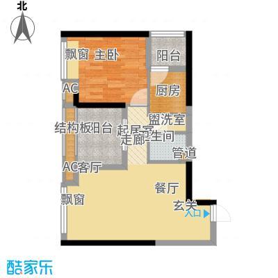 协信城56.21㎡二期6号楼标准层A面积5621m户型