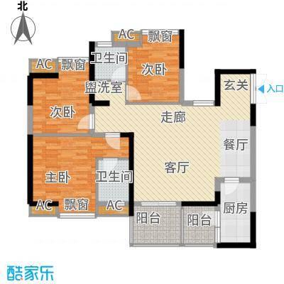 协信阿卡迪亚92.43㎡二期B2号楼面积9243m户型