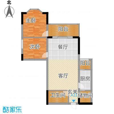 兰波红城丽景77.10㎡B-3面积7710m户型
