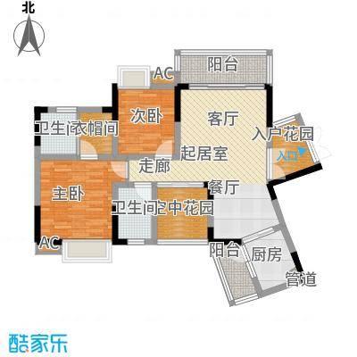 红树林84.89㎡3期5号楼G面积8489m户型