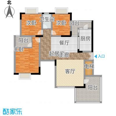 金科绿韵康城122.25㎡8号楼偶数层面积12225m户型