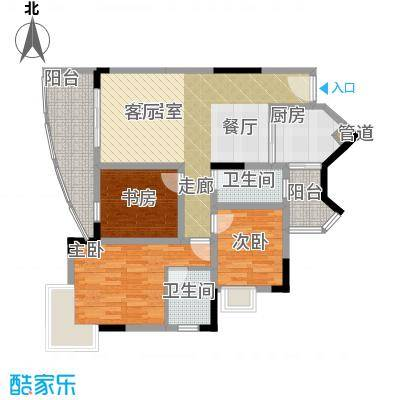 金科绿韵康城86.88㎡2期3号楼C、面积8688m户型