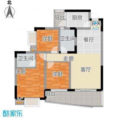 青河世家87.58㎡10、11号楼1、6面积8758m户型