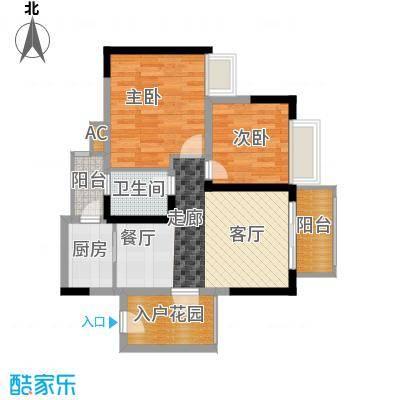 香逸半山65.65㎡8、9号楼B面积6565m户型