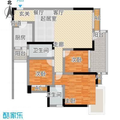 巨成龙湾91.08㎡1号楼B面积9108m户型