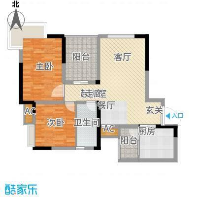 鹏润蓝海61.36㎡C-1-B面积6136m户型