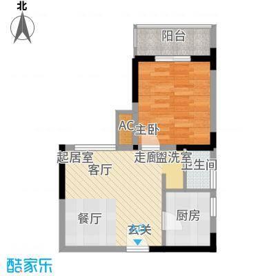 鹏润蓝海36.65㎡C-1-A面积3665m户型