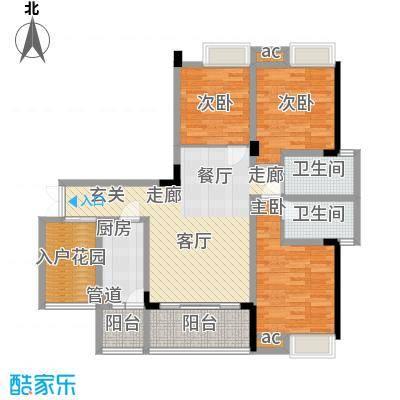 渝水坊二期94.55㎡一期1号楼1单元标准层5号房3室户型