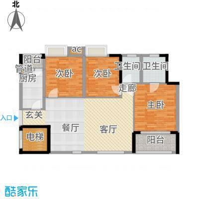 渝水坊二期95.04㎡一期2号楼1、2单元标准层1号房2室户型