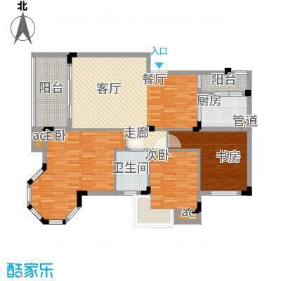 渝水坊二期92.97㎡一期4号楼1单元标准层1号房2室户型