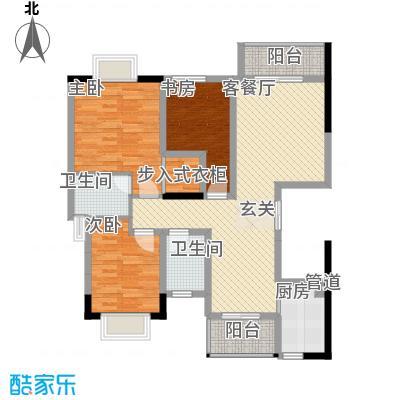 拓新香国城一期118.59㎡一期13号楼标准层D1户型