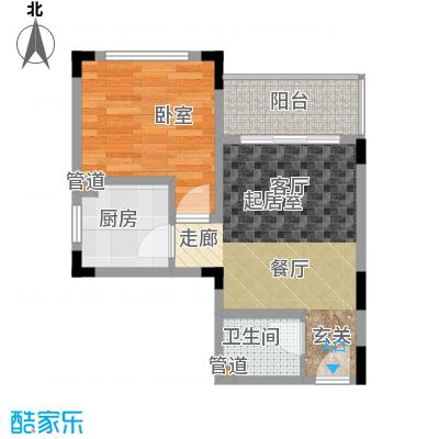 豪琪水云间48.38㎡二期电梯洋房标准层D户型