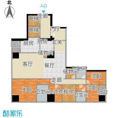 融创玖玺台205.00㎡一期5号楼标准层J户型