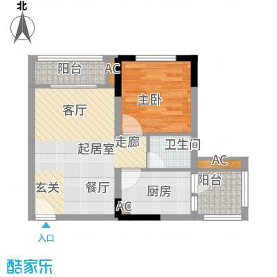 龙城国际41.58㎡一期标准层B2-E面积4158m户型
