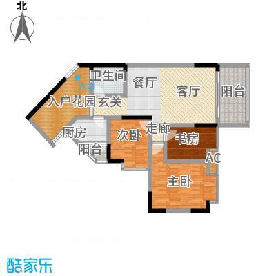 丰业御景铭洲84.38㎡E栋4号面积8438m户型