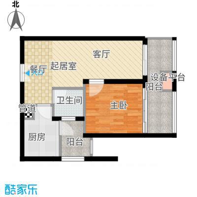 天福克拉广场66.00㎡一期A栋标准层C户型