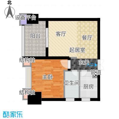 天福克拉广场60.00㎡一期A栋标准层B户型