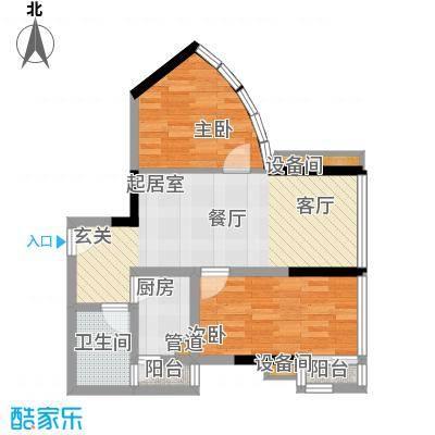 南滨国际70.53㎡一期A栋/B栋标准层F户型