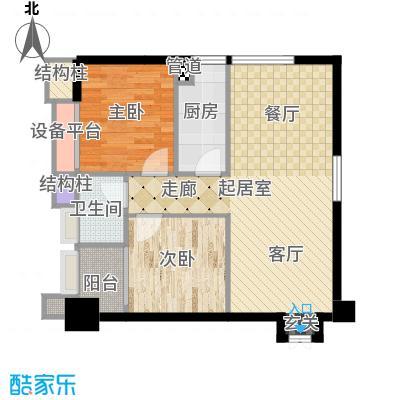 天福克拉广场83.00㎡一期A栋标准层A户型