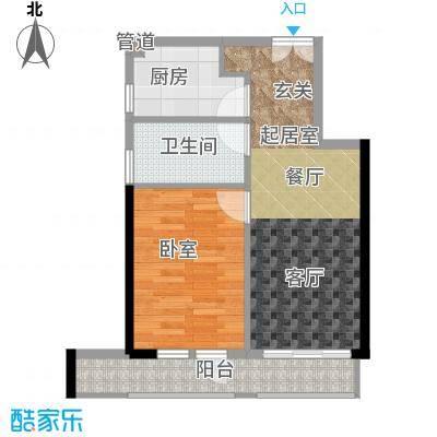 庆隆南山高尔夫国际社区玺馆46.29㎡一期1号楼标准层E户型