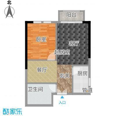 庆隆南山高尔夫国际社区玺馆46.43㎡一期1号楼标准层A户型