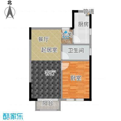 庆隆南山高尔夫国际社区玺馆48.99㎡一期1号楼标准层D户型