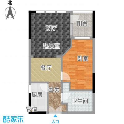 庆隆南山高尔夫国际社区玺馆51.83㎡一期1号楼标准层B户型