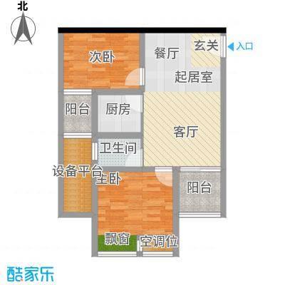千山美林64.08㎡三期18、19号楼标准层6号房户型