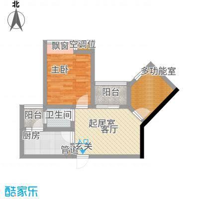 千山美林52.99㎡三期18、19号楼标准层3号房户型
