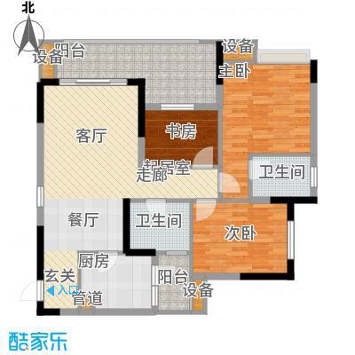 明华龙洲半岛四期老街古镇114.03㎡一期3、4、5栋标准层1号户型