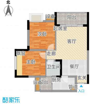 明华龙洲半岛四期老街古镇75.81㎡一期3、4、5栋标准层4/5号户型