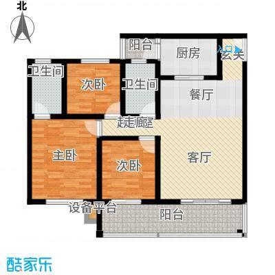 金桥新城107.75㎡一期6号楼3-5单元1、4号房标准层3室户型