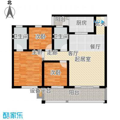 金桥新城107.75㎡一期5号楼1-3单元1、4号房标准层3室户型