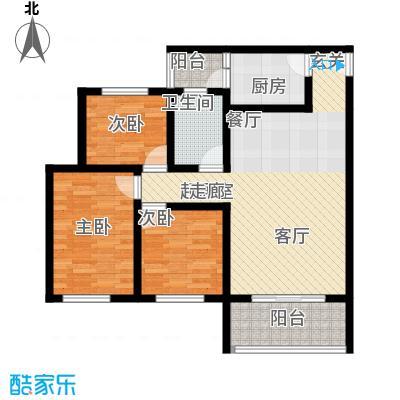 金桥新城92.04㎡一期5号楼4-5单元1、4号房标准层3室户型