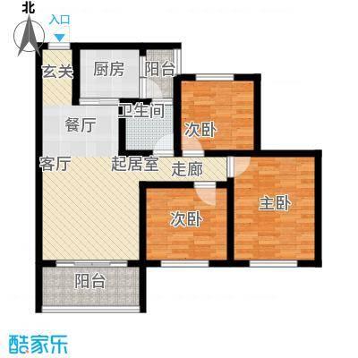 金桥新城90.31㎡一期3-4号楼1、4号房标准层户型