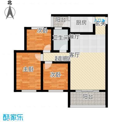 金桥新城92.04㎡一期6号楼1-2单元1、4号房标准层3室户型