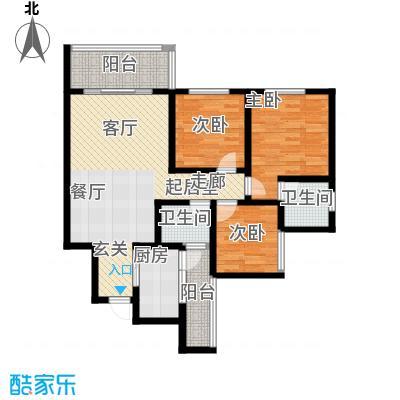 金桥新城97.44㎡一期3-4号楼2、3号房标准层户型