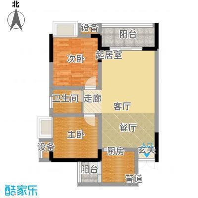 新港左岸陈桥64.21㎡一期1、2、3号楼D标准层户型