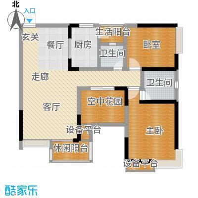 锦上华庭北区观苑100.27㎡二期4/5栋标准层1/2号房户型