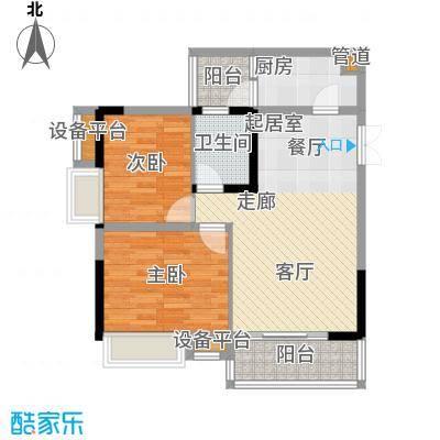 中冶重庆早晨64.19㎡1期4号楼2、3号房标准层户型