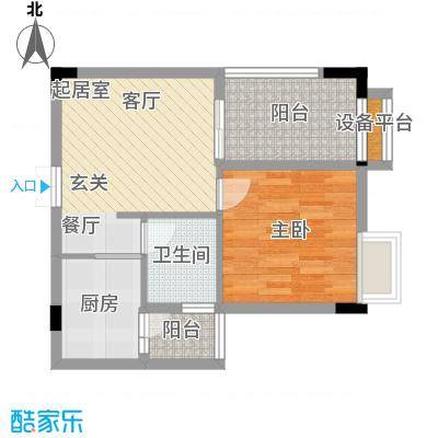 中冶重庆早晨48.64㎡1期超高层1号楼标准层4、11、5、10号房户型